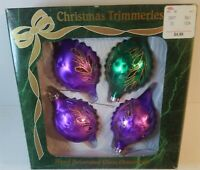 Christmas Bradford Purple Green & Glitter Glass Ornaments 4 Vintage Hills dept.