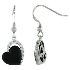 Sterling Silver Black Enameled Heart Dangle Earrings w/ Brilliant Cut CZ Stones