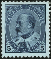 Canada #91 5c Blue on Bluish Paper 1903 King Edward VII Mint Faintly Hinged