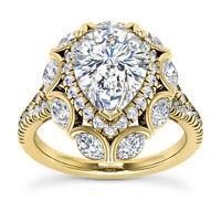 3.10 Carat F/VS1 Natural Pear Cut Diamond Engagement Ring 14k Yellow Gold