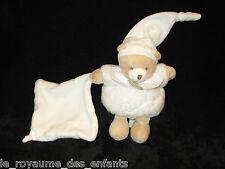 Doudou & Compagnie petit Ours boule blanc écru beige mouchoir carré 16cm / 27cm