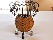 Large/Tall Nice Wrought Iron & Wicker Planter W/Handles Unique & Detailed Decor