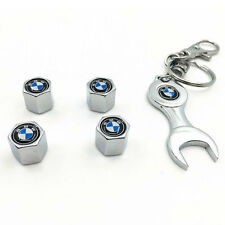 4PC Stainless Steel Car Wheel Tire Air Valve Caps & Mini Wrench Keychain for BMW