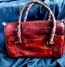 EEL SKIN purse, Satchel handbag WITH MULTIPLE COMPARTMENTS and Silk handles
