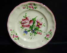 ASSIETTE DECORATIVE  FAIENCE  ROSE PEINT A LA MAIN ST CLEMENT DECORATEUR MS
