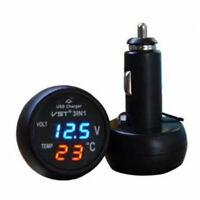 Digital For 12V Car SUV Lighter Socket USB Charger Thermometer Voltage Meter