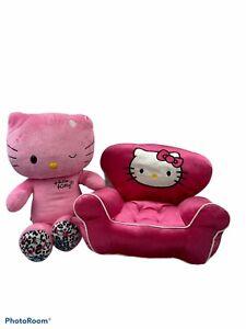 "Build A Bear BAB Sanrio Pink Winking Hello Kitty Plush Leopard Paws 18"" & Chair"