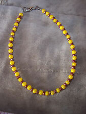Hand Crafted 10 inch Yellow and Brown Glass Seedbead Beaded Ankle Bracelet D-91