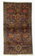202x112 cm originell old Afghan Warrug Kriegteppich Afghanistan orientteppich 34
