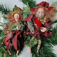 "Poseable Whimsical Fairy Christmas  Elves 9"" Christmas Ornament Decor Red/ Green"