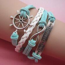 (B10) Vintage handgemaakte Infinity 8 verklaring wiel lederen armband armband