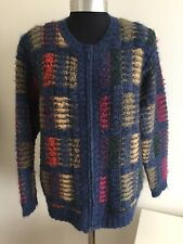 Vintage Ladies Boho Hippy Festival Colourful Mohair Mix Zip Up Cardigan Jacket L