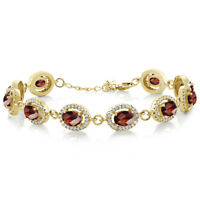 """10.88 Ct Oval Checkerboard Garnet 18K Yellow Gold Plated Silver 7.5"""" Bracelet"""