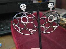 "Italy MISIS 925 VI 1535 Piaserico 2"" Black Enamel & Crystal Circles Earrings '99"