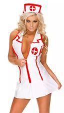Sexy Nurse Costume Naughty Roleplay 3pc Set Zip Up Dress Panty Hat