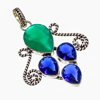 """Green Onyx,Blue Sapphire Natural Gemstone Silver Plated Jewelry Pendant 2.22"""""""