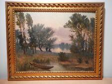 Tableau peinture paysage campagne bord rivière soleil couchant élève L Gautier