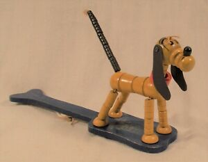 DISNEY FISHER PRICE PLUTO WOODEN PADDLE PUPPET POPUP STRING KRITTER DOG