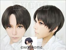 Attack on Titan Levi/Rivaille/Rival Black Short Cosplay Hair Wig + free wig cap