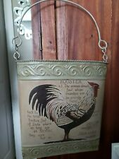 Shabby Chic Tan Rooster Metal Hanging Basket