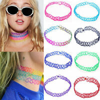 Vintage Stretch Tattoo Lace Choker Necklace Retro Gothic Elastic 80 90s Colorful