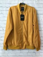 Boohoo Man Womens Yellow Solid Long Sleeve Full Zip Polyester Bomber Jacket XL