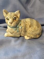 ANTIQUE CAST IRON GRAY & WHITE CAT DOORSTOP WITH BLUE BOW