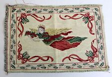 """Victorian Holly Angel Christmas Tapestry Pillow Top 12"""" x 18"""" Panel"""
