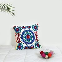 "16"" Cotton Cushion Cover Wool Hand Embroidery Suzani Art Boho Decor Pillow"