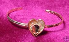 Heart Open Cuff Bracelet Gold Plate 6x8mm Vertical Bezel 1223 (pkg of 3)