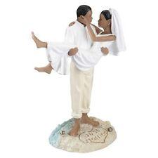 African American Couple Beach Wedding Cake Topper
