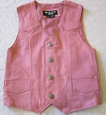GIRLS TODDLER KIDS PINK BIKER MOTORCYCLE WESTERN COWGIRL LEATHER VEST MEDIUM