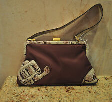 Beautiful Burgundy JLO Jennifer Lopez Evening Bag Purse w Snake Patented Leather