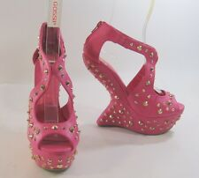Rosa/dorado PINCHOS 16.5cm Cuña Alta 5.1cm Plataforma Punta Abierta Sexy Zapatos