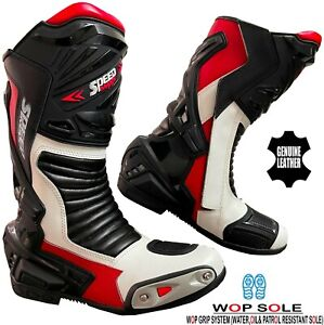 MENS BLACK, RED & WHITE MOTORBIKE / MOTORCYCLE RACING SPORTS LEATHER SHOES BOOTS