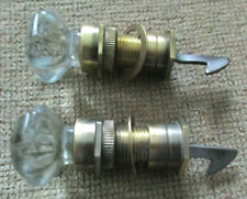 """Pair Vintage Faceted 1 1/4"""" Glass Brass Door Knobs With Latches Techinical Glass"""
