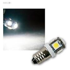 LED Leuchtmittel E10 kaltweiß, 12V DC, 5x 3-Chip SMD LEDs, Birne Lampe E-10 weiß