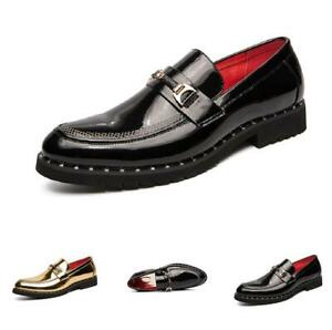Mens Low Top Leisure Leather Shoes Pointy Toe Slip on Loafers Shiny Nightclub Sz