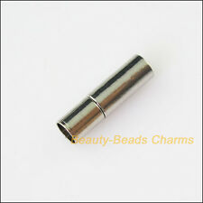 4Sets Dull Silver Plated Cylindrical Strong Magnetic Clasps Connectors 5x17mm