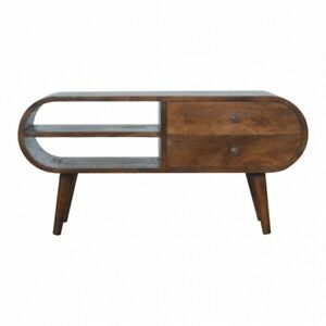 Mid Century Modern Rounded Dark Wood TV Cabinet Media Unit - Free Delivery
