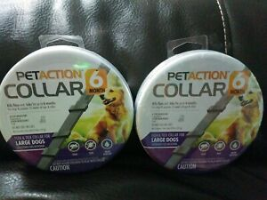 2 Pet Action Adjustable Collar Large Dogs Each Lasts Six Months Factory Sealed