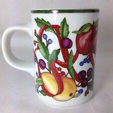 Dansk Holiday Harvest Coffee Mug Cup Thanksgiving Christmas Red Ribbon Fruit