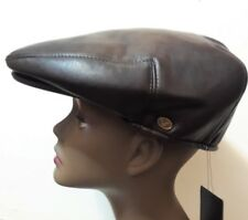 XL Brown Faux Leather Mens Newsboy Cabbie Visor Hat Cap Driving Women Flat