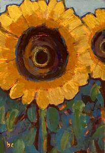 ACEO Original Painting Beth Capogrossi SIGNED COA Sunflowers Artist Trading Card