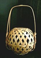 Japanese Bamboo Basket Ikebana Tea Ceremony Flower Antique Vintage Vase Small