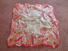 "Collectible Ladies Handkerchief Sheer Silk Pinks Off White 10"" Delicate Nice"