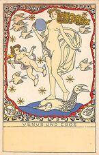 """Berthold Löffler Wiener Werkstätte """"Venus Und Eros"""" Nude Postcard"""