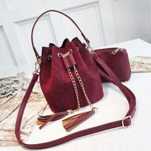 Mini Crossbody Handbags Suede Bucket Bag Organizer Small Tassel PU Leather Women