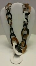 Gorgeous designer Buffalo horn and white leather long link necklace