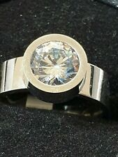 Diamond style white Topaz Crown setting sterling silver ladies ring 10 us